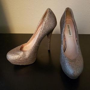 Steve Madden heels - silver glitter 8.5
